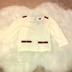 NWT Janie & Jack 6-12 white top w/ leather accents